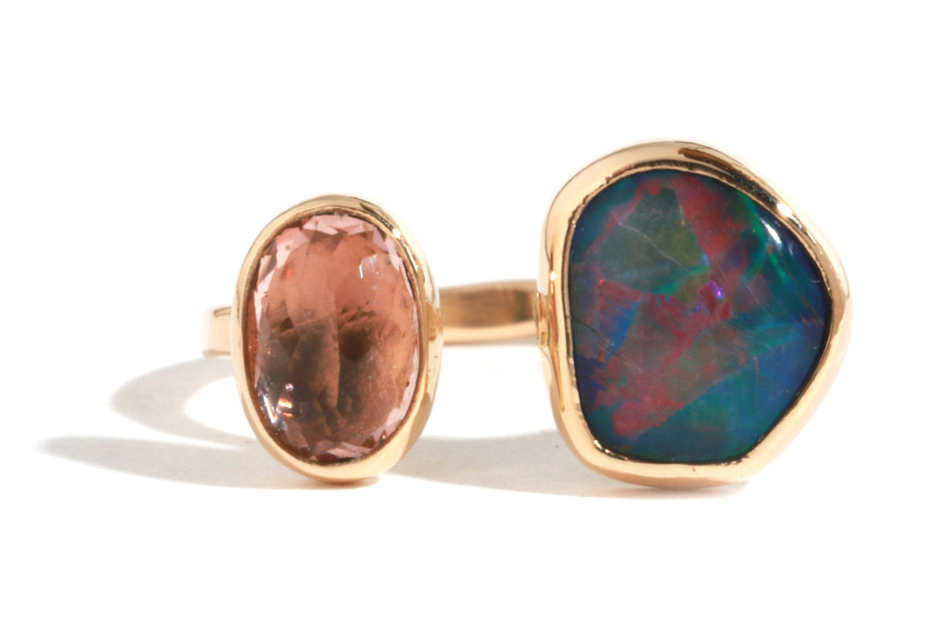 Opal and Pink Tourmaline Double Ring