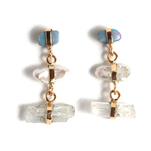 Opal, Pearl, and Hambergite Three Drop Earrings - Melissa Joy Manning Jewelry