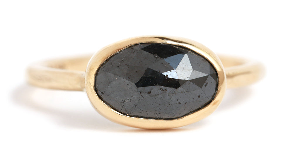 Oval Black Diamond Ring - Melissa Joy Manning Jewelry