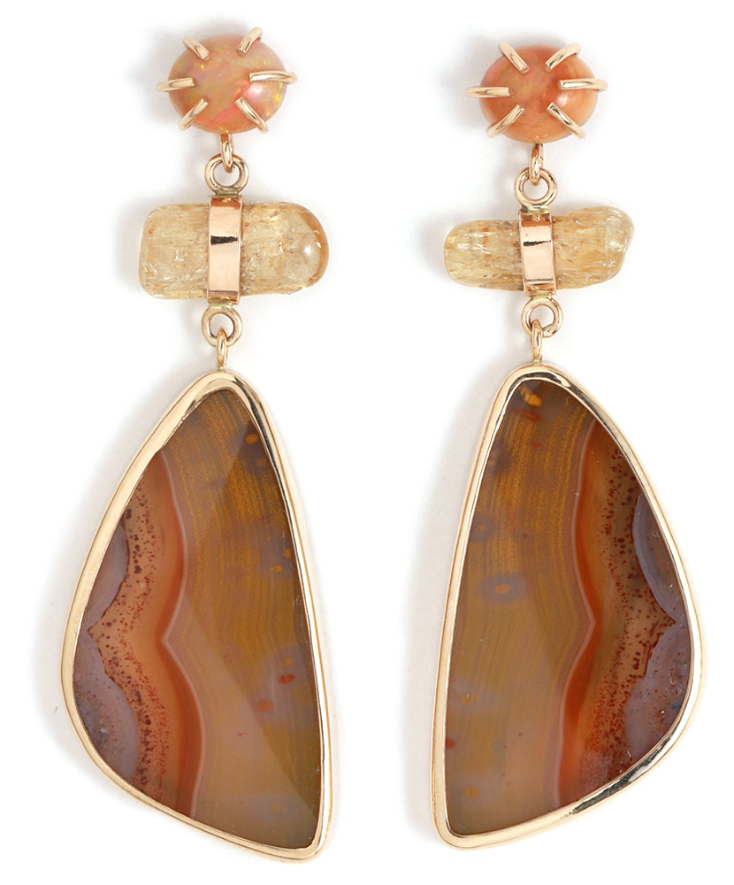 Kentucky Agate, topaz, and opal three drop earrings