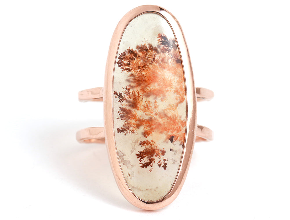 Plume Agate Double Band Ring