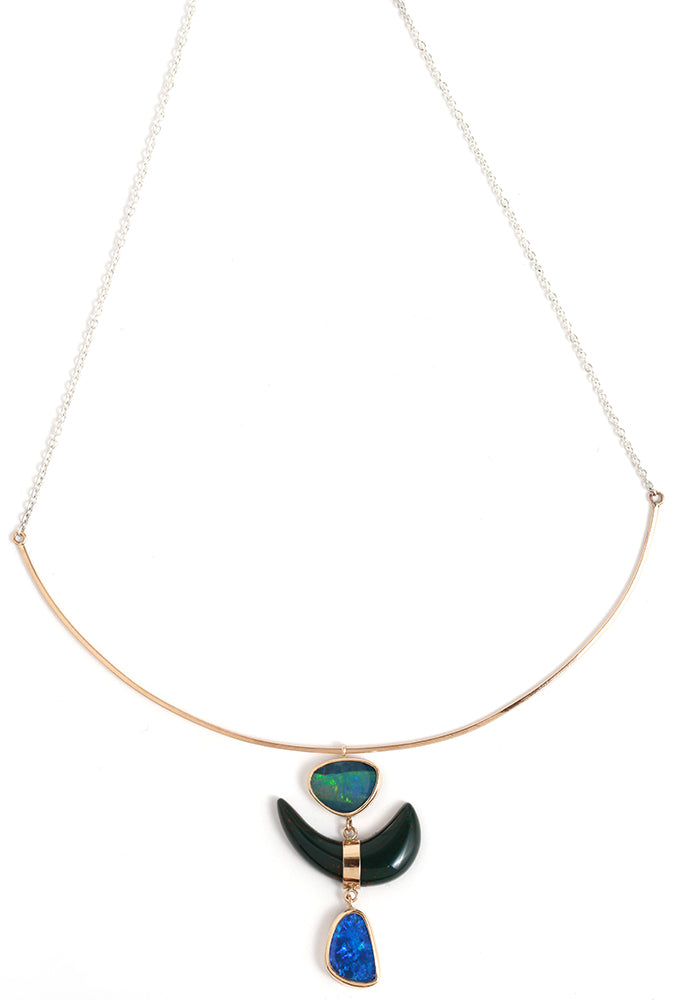 Opal and Bloodstone three drop collar necklace