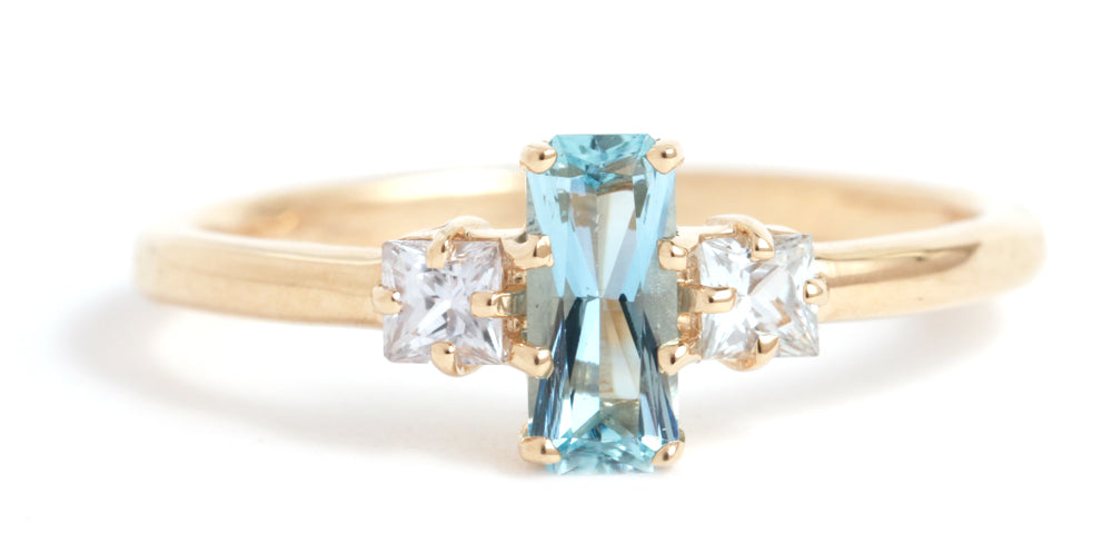 Aquamarine and Sapphire Princess Ring - Melissa Joy Manning Jewelry