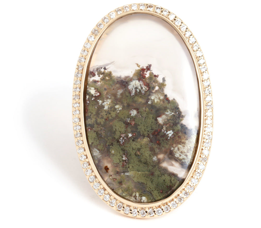 Micropav̩ Diamond and Landscape Agate Ring - Melissa Joy Manning Jewelry