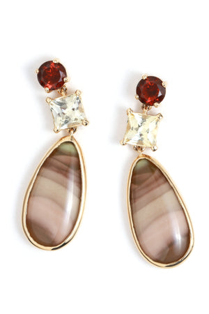 Kenyan Garnet, Sapphire, and Imperial Jasper Three Drop Earrings - Melissa Joy Manning Jewelry