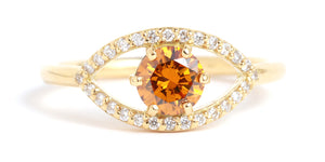 True Orange Diamond Eye Ring