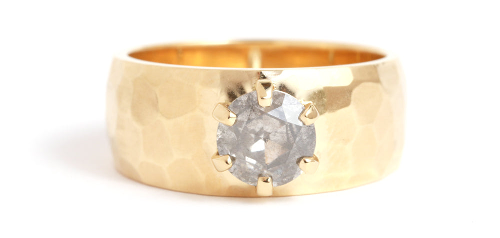Cigar Band with Round Grey Diamond - Melissa Joy Manning Jewelry