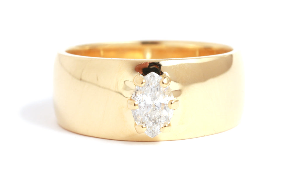Marquis White Diamond Cigar Band Ring - Melissa Joy Manning Jewelry