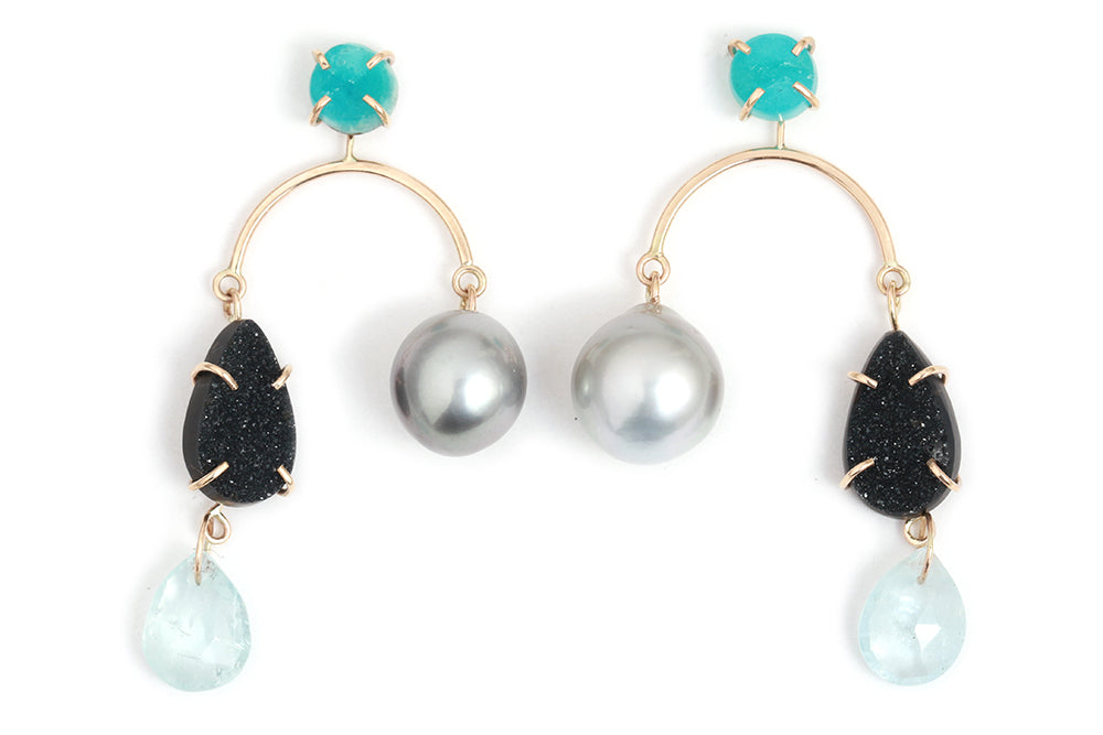 Hemimorphite, Aquamarine, Black Druzy and Tahitian Pearl Mobile Earrings