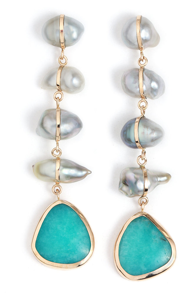 Tahitian Pearl and Peruvian Opal Five drop earrings