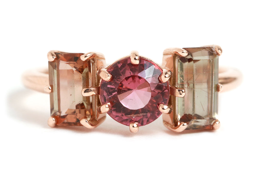 Pink Tourmaline and Andalusite Ring