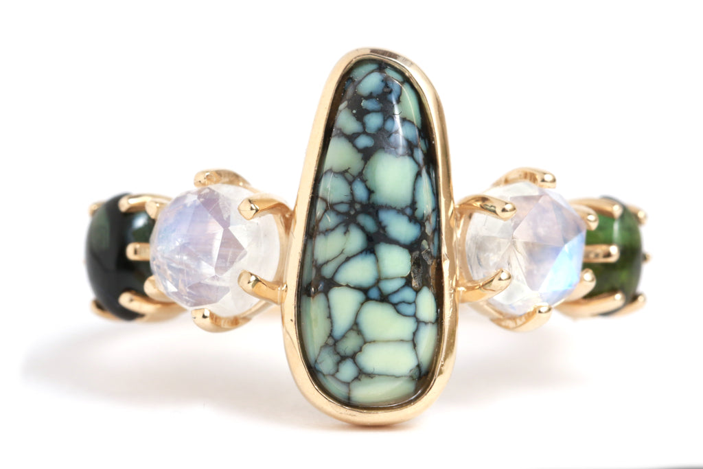 Milkyway Turquoise, Moonstone, and Tourmaline Ring - Melissa Joy Manning Jewelry