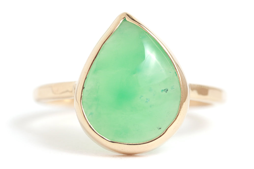 Pear Shaped Chrysoprase Ring