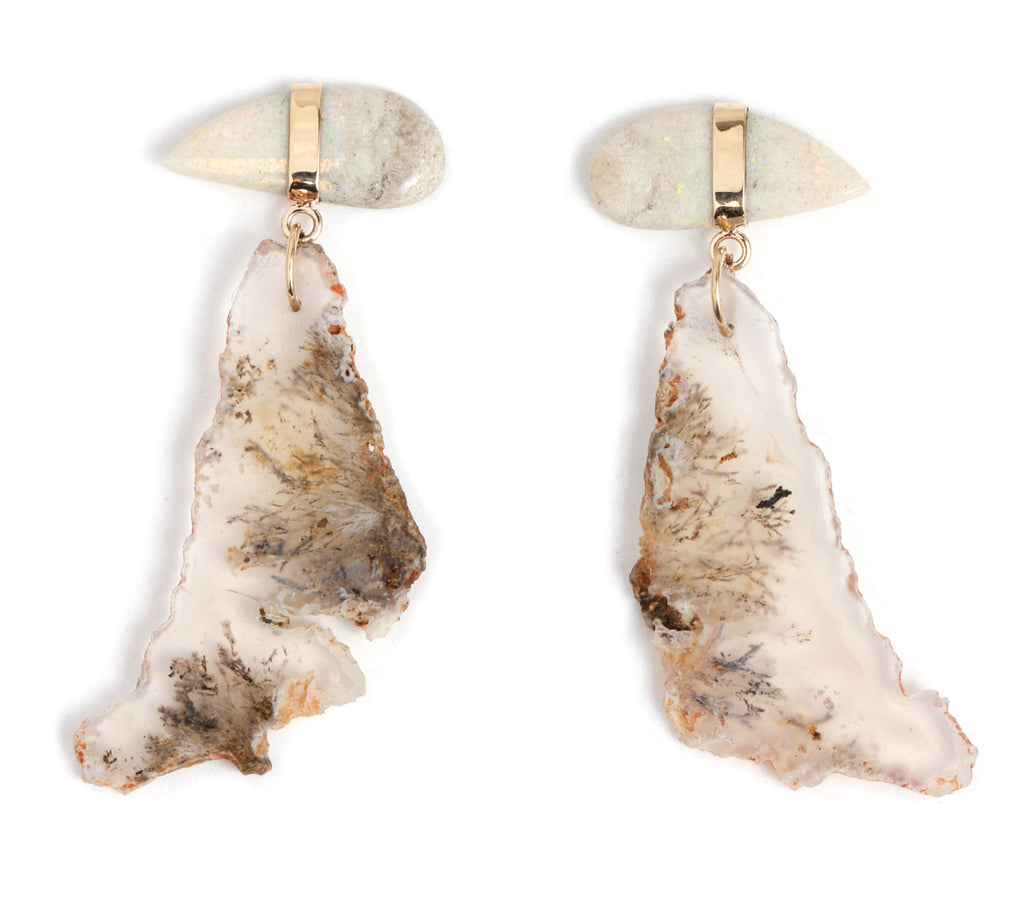 Opal and Agate drop earrings