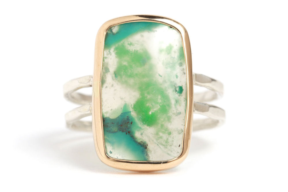 Gem Chrysocolla Double Band Ring - Melissa Joy Manning Jewelry