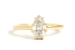 Pear Shape White Diamond Ring - Melissa Joy Manning Jewelry