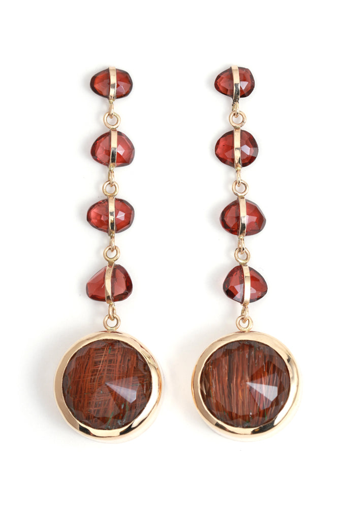 Garnet and Rutilated Quartz Five Drop Earrings