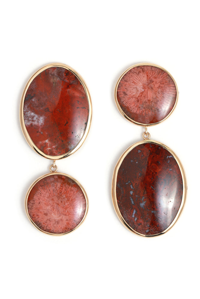 Vintage red horn coral and Mary Ellen Jasper mismatched drop earrings