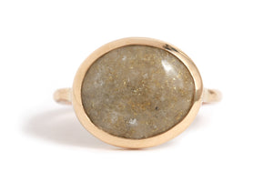 Native Gold Quartz Cabochon Ring