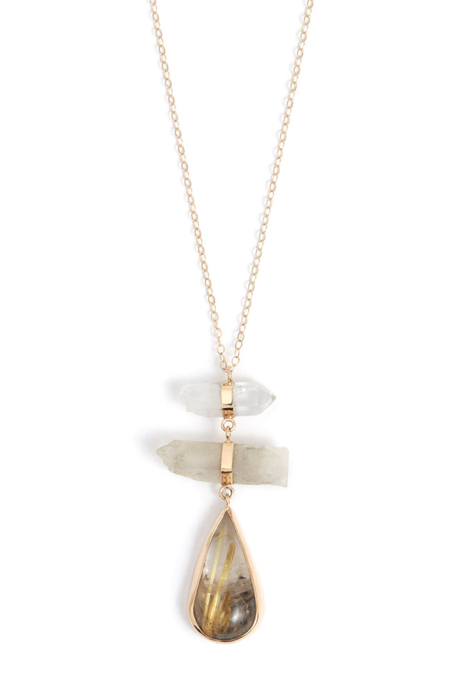 Tourmaline and Rutilated Quartz Drop Necklace