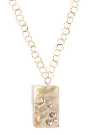 Mother of Pearl in Abalone Necklace with Handmade Chain