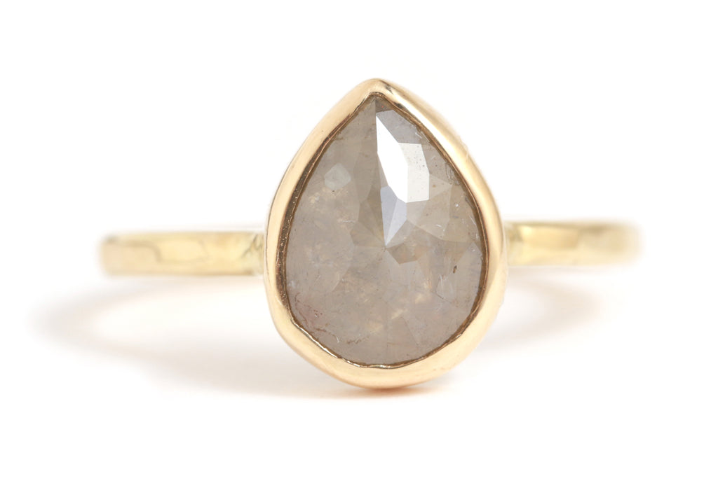 Grey Teardrop Diamond Ring - Melissa Joy Manning Jewelry