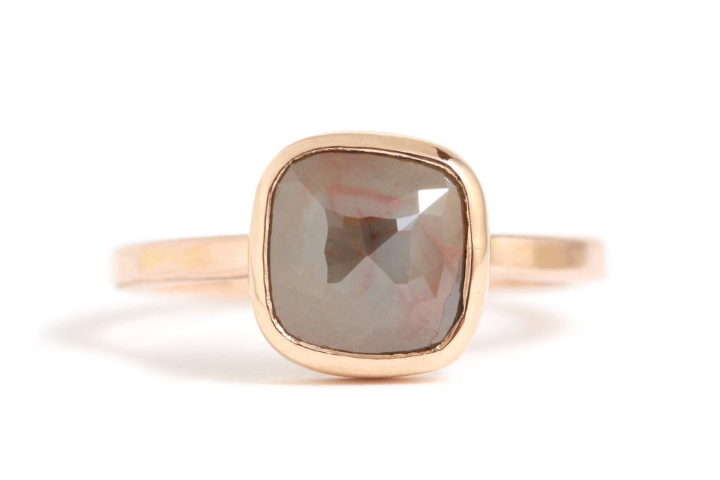 Red to grey rounded sqaure diamond ring - Melissa Joy Manning Jewelry