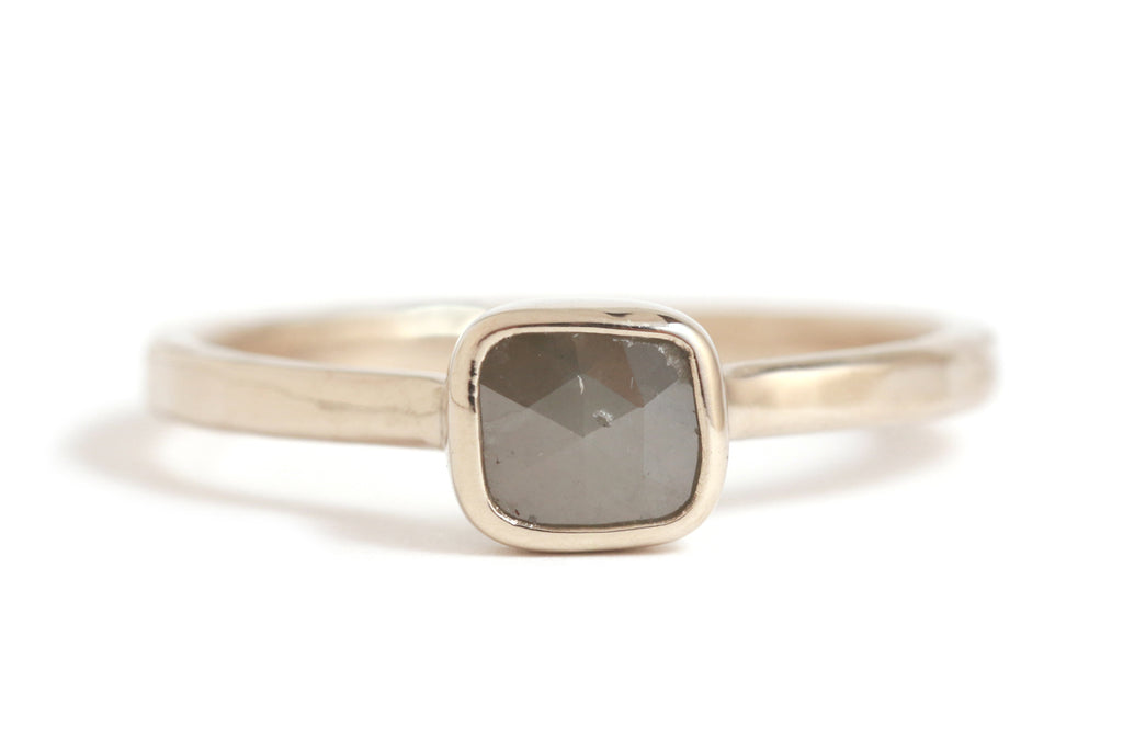 rustic cut grey square diamond ring - Melissa Joy Manning Jewelry