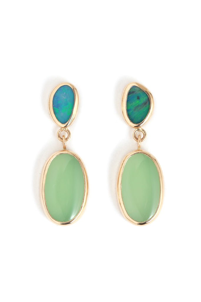 Bezel set opal and chrysoprase mini two drop earrings