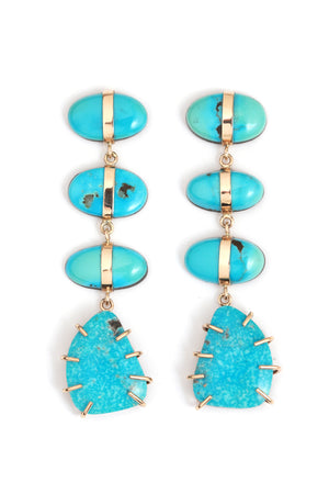 Arizona Morenci Turquoise four drop earrings
