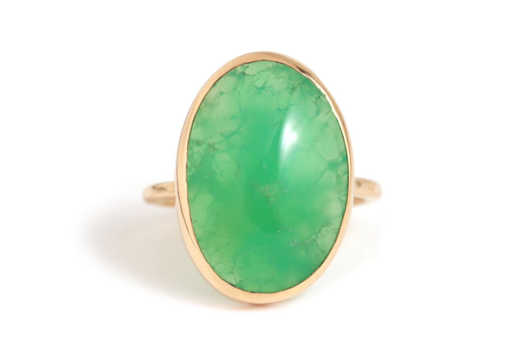 Midsize Oval Chrysoprase Cabochon Ring