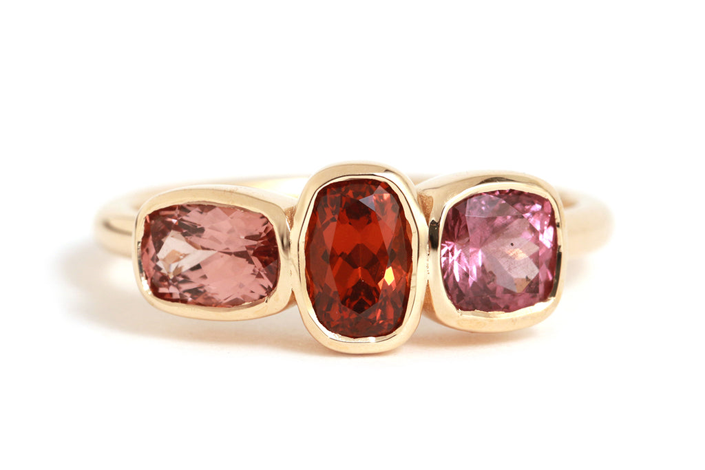 Three Stone Garnet Ring - Melissa Joy Manning Jewelry