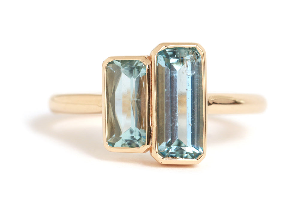 Mozambique and Vietnamese Aquamarine Ladder Ring - Melissa Joy Manning Jewelry