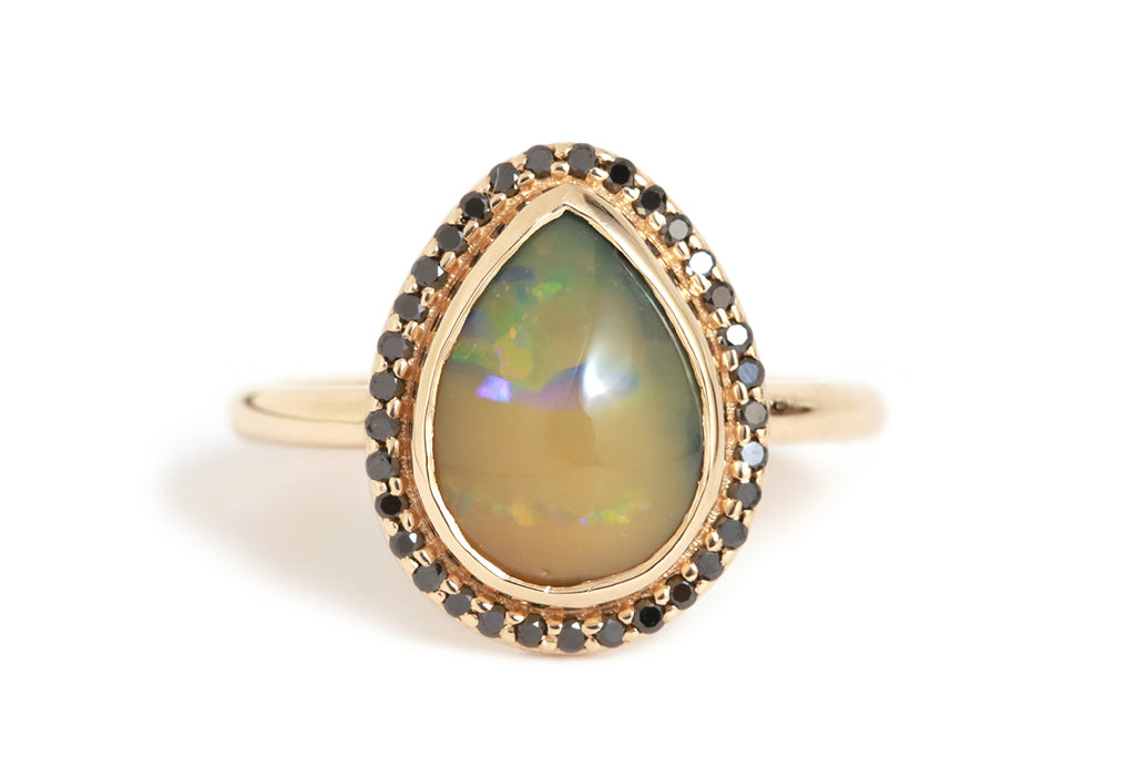 Australian Black Opal Ring with Black Diamond Halo - Melissa Joy Manning Jewelry