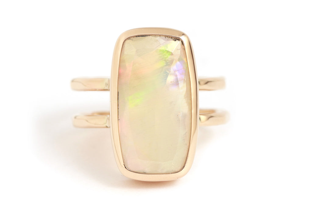 Cushion Cut Opal Double Band Ring - Melissa Joy Manning Jewelry