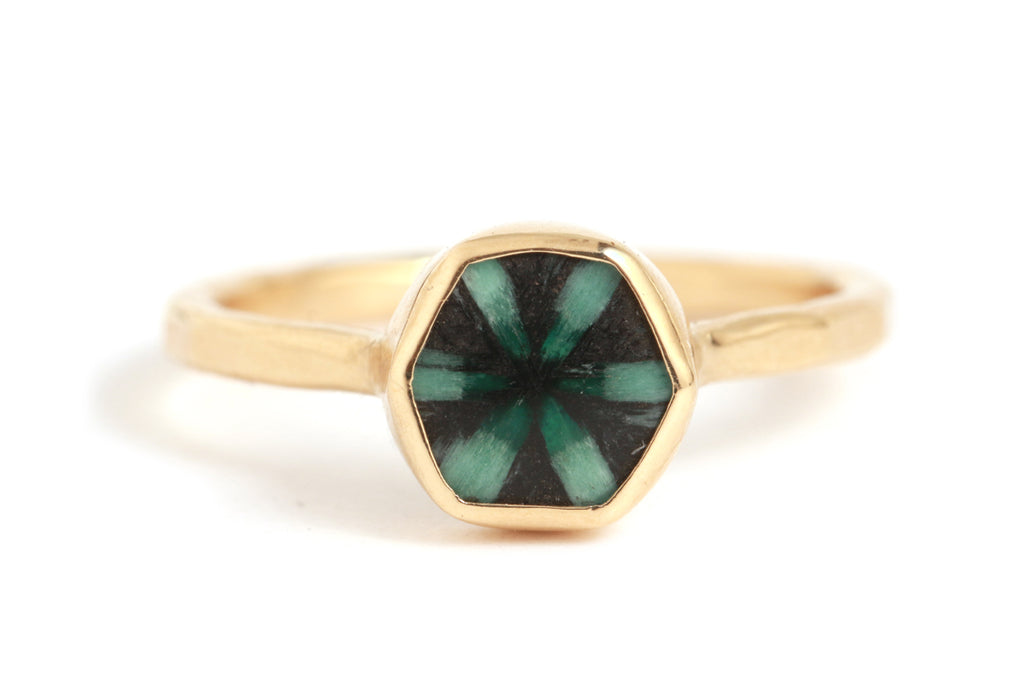 Trapiche Emerald Hexagon Ring