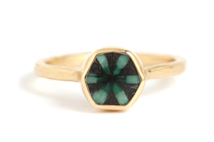 Trapiche Emerald Hexagon Ring - Melissa Joy Manning Jewelry
