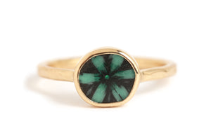 Horizontal Trapiche Emerald Ring - Melissa Joy Manning Jewelry