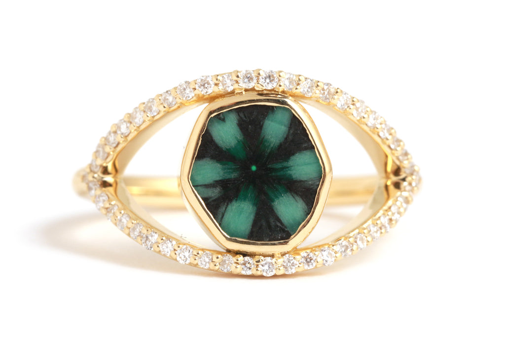 Trapiche Emerald Micro Pave Diamond Eye Ring