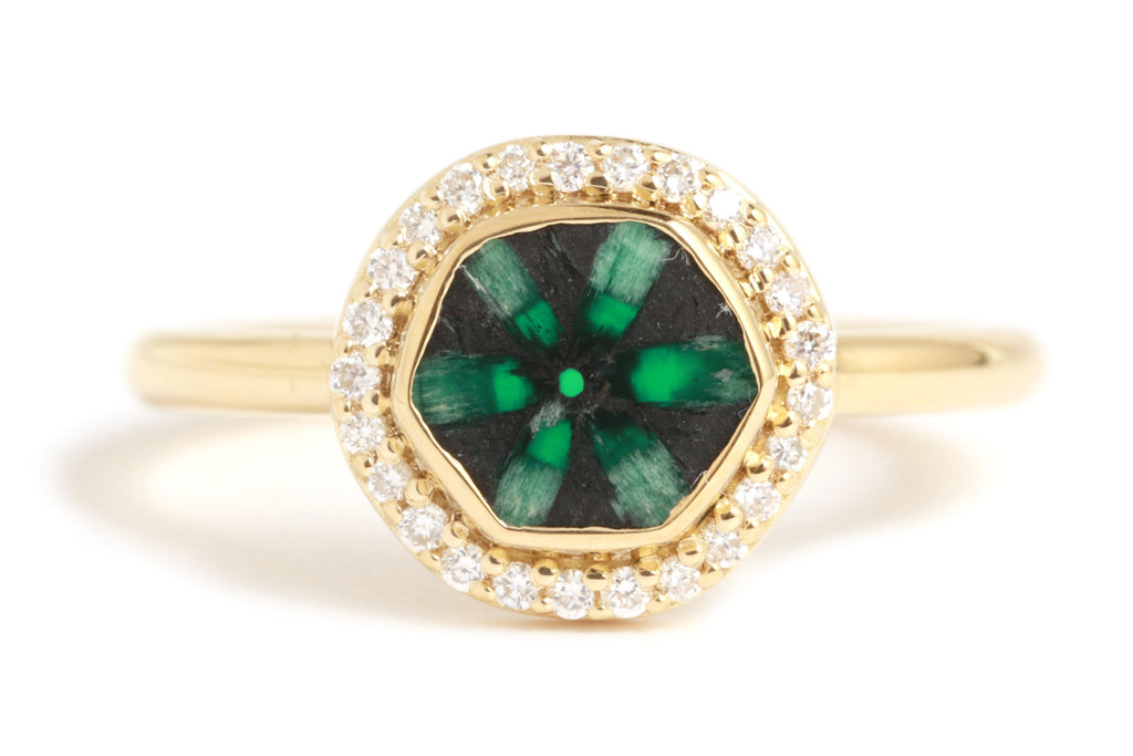 Trapiche Emerald Micro Pave Diamond Halo Ring - Melissa Joy Manning Jewelry