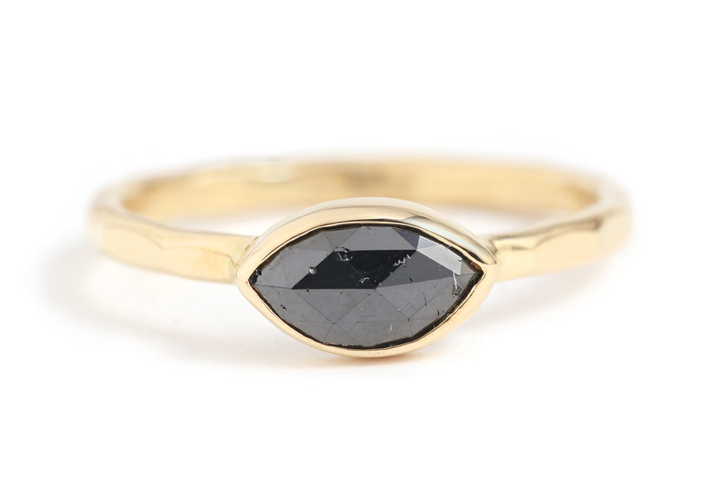 Black Marquis Diamond Ring