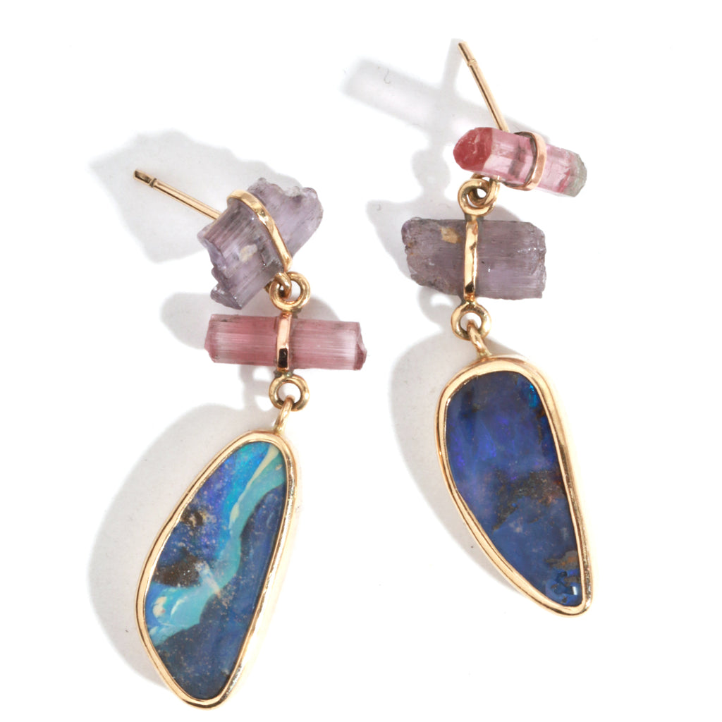 Opal, scapolite, and tourmaline drop earrings - Melissa Joy Manning Jewelry