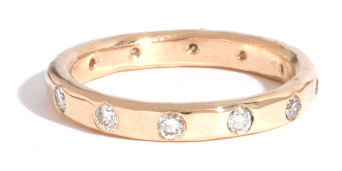 2mm White Diamond Band - 14 Karat Gold - Melissa Joy Manning Jewelry