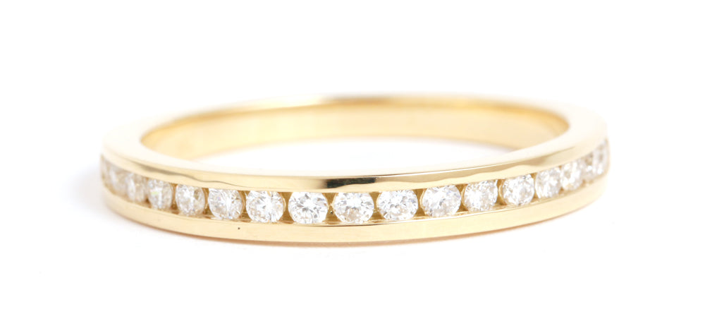 Half Channel Set White Diamond Ring