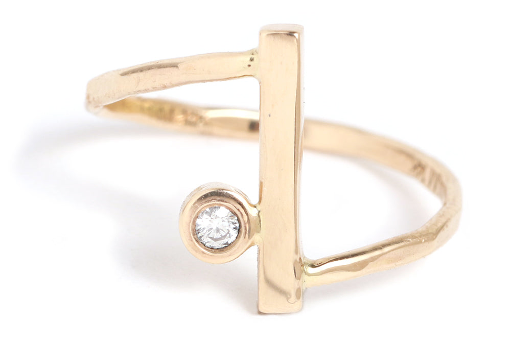 Diamond Bar Wrap Ring - Melissa Joy Manning Jewelry
