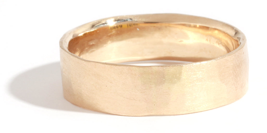 Hammered Texture 6mm Band - Yellow Gold - Melissa Joy Manning Jewelry