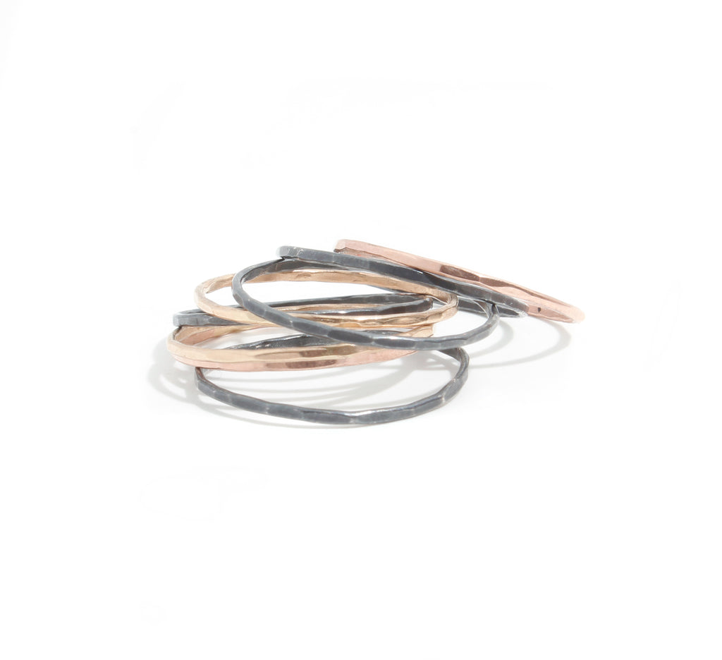 Set of 8 mixed metal stacking rings - Melissa Joy Manning Jewelry
