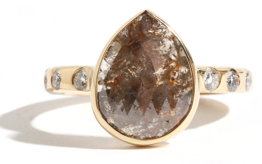 Brown Pear Shape Diamond Ring with White Diamond Accents