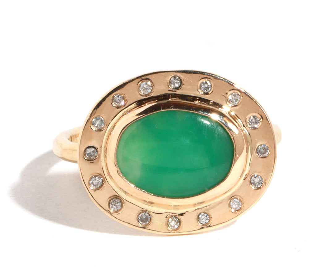 Diamond Halo Chrysoprase Ring