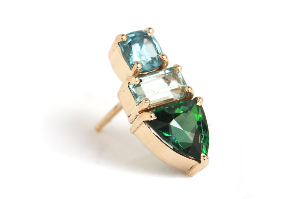 zircon, aquamarine, and tourmaline stud - half pair